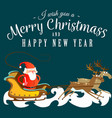 santa claus in a red hat and jacket with a beard vector image