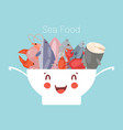 seafood and fish in cute kawaii bowl with lobster vector image
