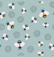 seamless pattern with bee and dotted floral vector image