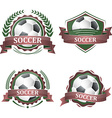 Set of soccer sport icons with ribbons laurel vector image