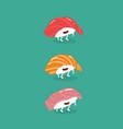sushi salmon tuna seabass funny image vector image vector image