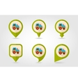 Tractor flat mapping pin icon with long shadow vector image vector image