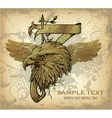 vintage emblem with eagle head vector image vector image
