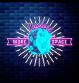 vintage space emblem glowing neon sign vector image