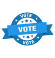 vote ribbon vote round blue sign vote vector image vector image
