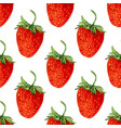watercolor seamless pattern with red strawberries vector image vector image