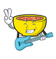 with guitar soup union mascot cartoon vector image vector image
