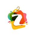z letter logo with sale tag icon watercolor vector image vector image