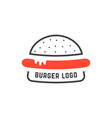 simple linear burger logo vector image