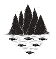 River Bank with Forest and Fish vector image