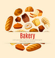 bakery and pastry shop poster with bread and cake vector image vector image