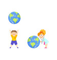 boy and girl plaing with big glove save the earth vector image vector image