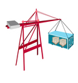 Cargo Container Being Hoisted By A Red Crane vector image vector image