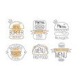 collection emblems for burger vector image vector image
