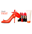 cosmetic with shoe vector image vector image