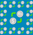 Currency exchange Set 3 Euro Dollar Rupee Dong vector image