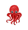 cute red octopus with big shiny eyes soft-bodied vector image