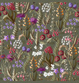 ditsy seamless pattern with wild flowers vector image vector image