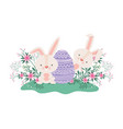 easter rabbits with egg and flowers icon vector image