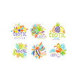 exotic original design labels collection colorful vector image