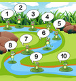 frog count number at pond vector image vector image