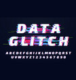 glitch font digital glitched alphabet game vector image
