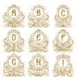 golden vintage monograms letters from a to i vector image vector image