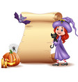 halloween sign with little witch bat spider can vector image vector image