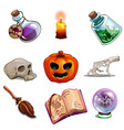 halloween symbols - skull book pumpkin and other vector image vector image