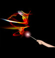 hand with a magic wand vector image