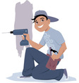 Handyman with an electric drill vector image vector image