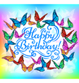 Happy Birthday banner bright butterfly vector image
