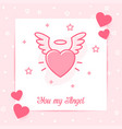 heart wings halo valentine card angel love text vector image