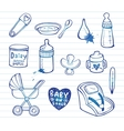 Infant doodle Icon set vector image vector image