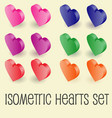 isometric graphics of heart icons set vector image vector image