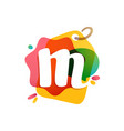 m letter logo with sale tag icon watercolor vector image vector image
