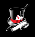 magician hat with cane vector image vector image