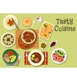 Meat dinner with healthy fruit dessert icon vector image vector image