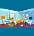 mother and daughter cleaning room vector image vector image