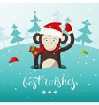 new year card with cute monkey - symbol of vector image vector image