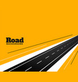 perspective road pathway on yellow background vector image vector image