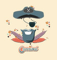 pirate hat and eye patch carnival accessories vector image