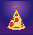 pizza slice in tree shape with star on top vector image