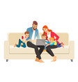 portrait a jolly family using a laptop sitting vector image vector image
