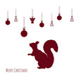 red silhouette of squirrel with christmas balls vector image