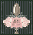 restaurant menu with spoon and pink roses vector image vector image