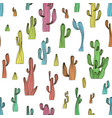 seamless cactus pattern from saguaro cactus vector image vector image