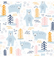 seamless pattern bears in forest hand drawn vector image