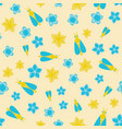 seamless pattern with honey bee and flowers vector image vector image