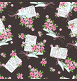seamless pattern with letters and bouquets of vector image vector image